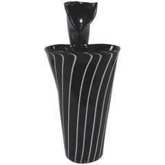 Vintage Richard Price Hand-Blown Black Art Glass Jack-in-the-Pulpit Flower Vase