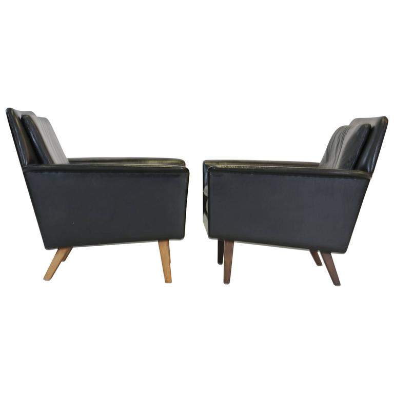 Pair Of Lyon Club Chairs By Alf Svensson For Fritz Hansen In Blac