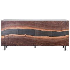 Summit Media Cabinet by Uhuru Design, Claro Walnut Slab and Hand Blackened Steel