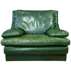 Vintage Roche Bobois Green Leather Lounge Chair