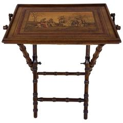 Fine 19th Century Italian Marquetry Inlaid Olivewood Butlers Tray