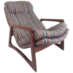 Mid-Century Modern Sculpted Walnut Lounge Chair in the Style of Adrian Pearsall