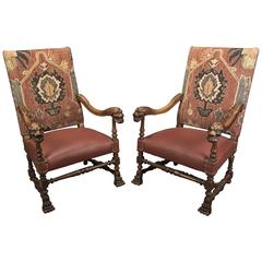 Pair of French Louis XIV Style Carved Walnut Armchairs