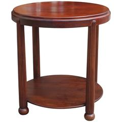 Stunning Art Deco Round Coffee Table or Gueridon Solid Mahogany, circa 1930s