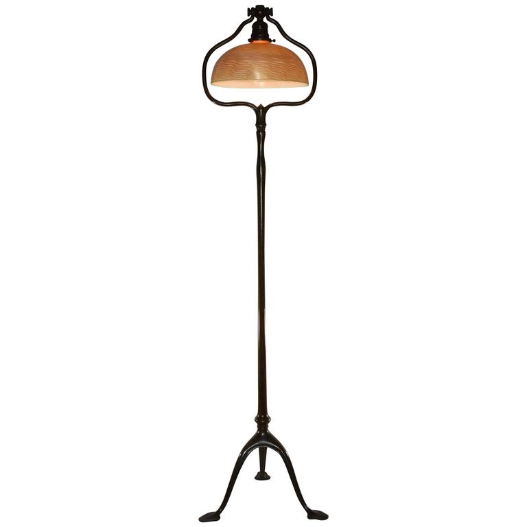 bronze floor lamp with damascene glass shade for sale at 1stdibs. Black Bedroom Furniture Sets. Home Design Ideas