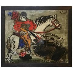 1960s Reverse Glass Folk Art Painting Man on Horse by Andrzej Galek #2