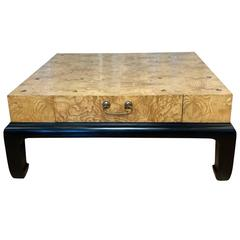 Large Burl Wood Coffee Table with Drawers Attributed to Henredon