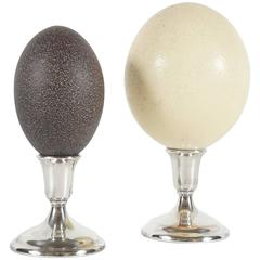 Two Specimen Eggs Mounted on Silver Bases