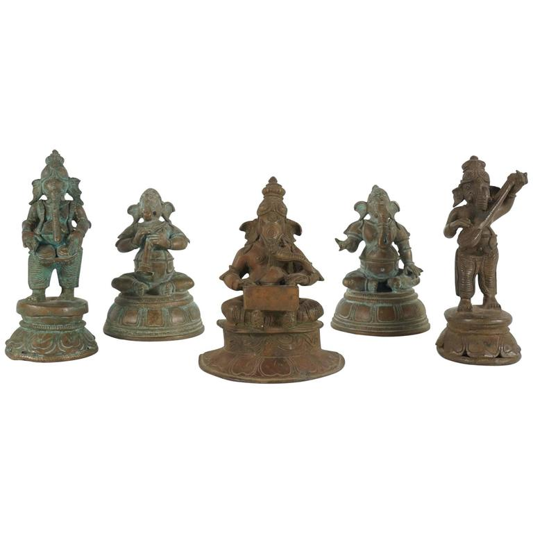Collection of Five Indian Cast Bronze Figures of Ganesha 1