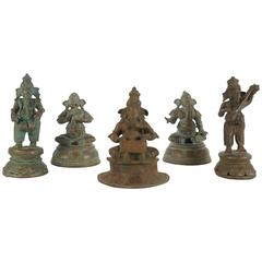 Collection of Five Indian Cast Bronze Figures of Ganesha