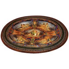 Presentation KPM Monumental Hand-Painted German Berlin Centrepiece Platter
