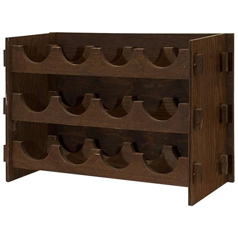 arts and crafts style wood wine rack circa 1975 for sale