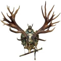 19th Century Red Stag Trophy on French Gilt Plaque with Roe Trophy & Hunt Sword
