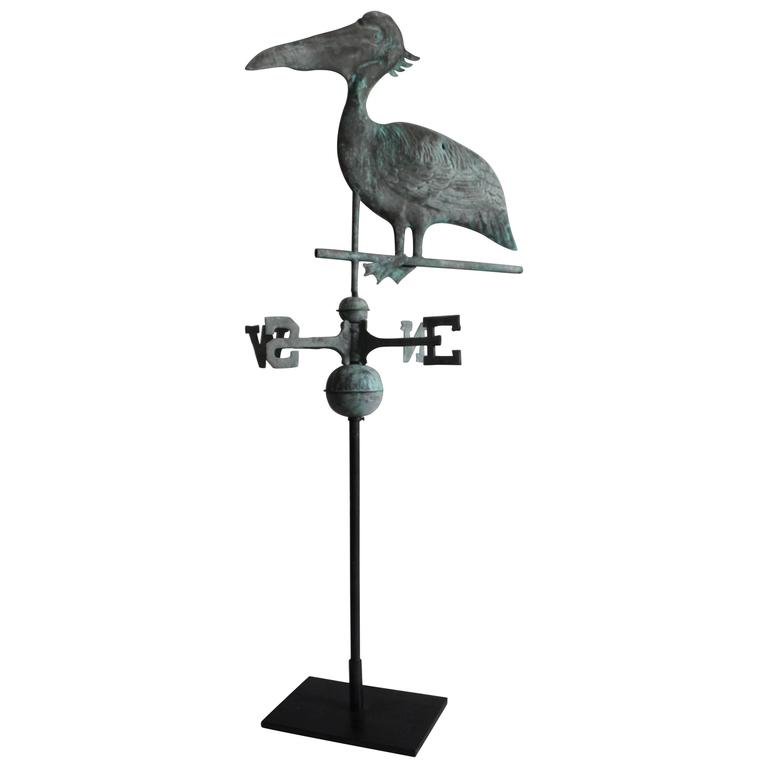 Early 20th Century, Stork Weathervane with Original Directionals on Stand