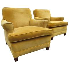 Pair of 1940s Velvet Club Chairs