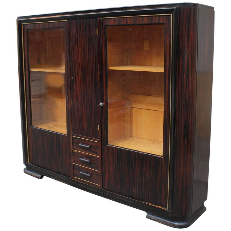 Stunning French Art Deco Exotic Macassar Ebony Bookcase