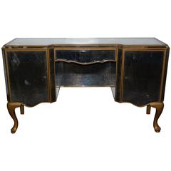 1950s Mirrored Dressing Table with Gold Painted Legs and Trim