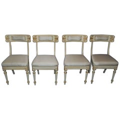 Set of Four Italian Klismos Style Side Chairs in White Paint