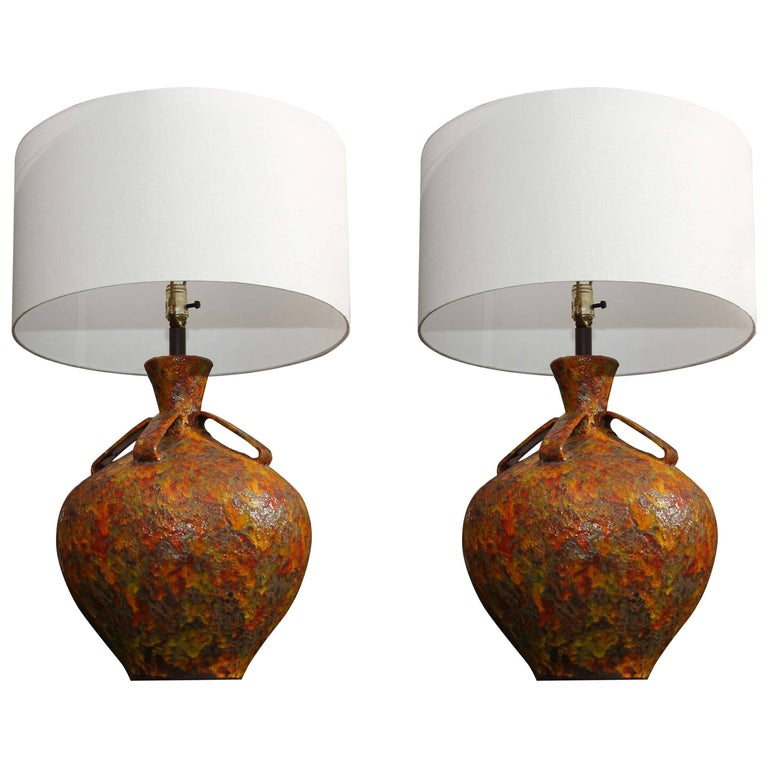 Pair of Mid-Century Pottery Lamps 1