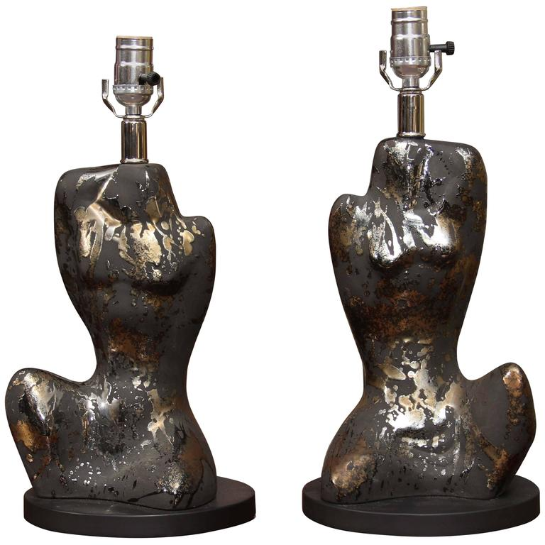 Pair of Mid-Century Male and Femaie Form Table Lamps For Sale