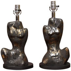 Pair of Mid-Century Male and Femaie Form Table Lamps