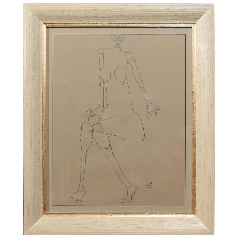 Graphite Drawing of Female by Martin Sumers For Sale