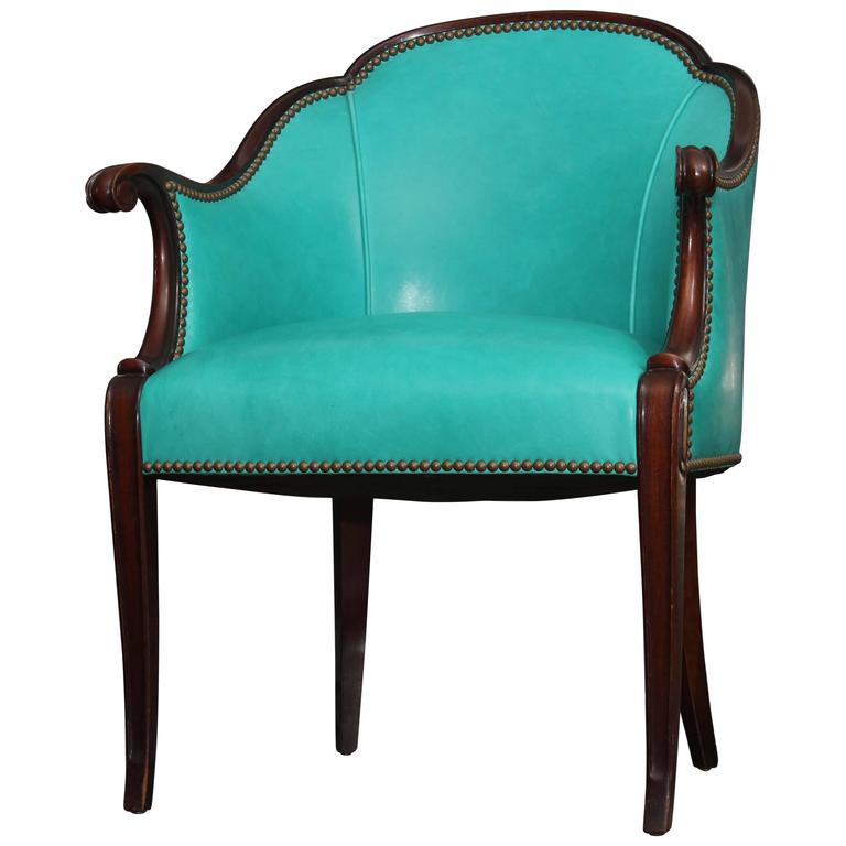 Antique Chair in Peacock Leather For Sale