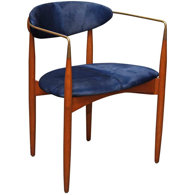 Mid-Century Blue Hide Chair 1