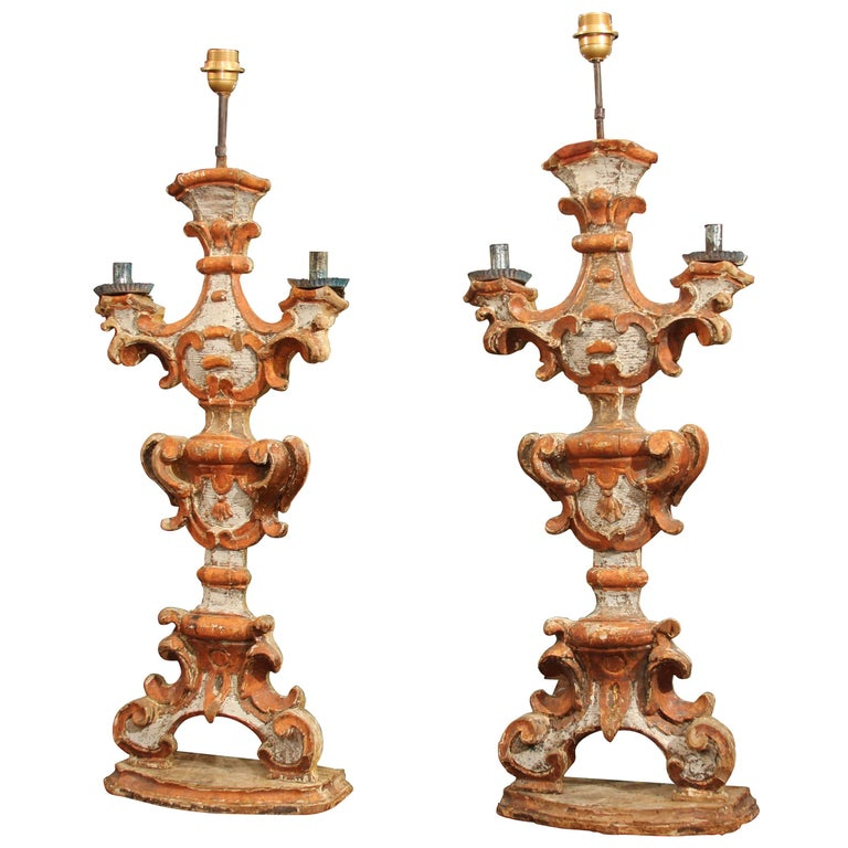 Pair of 18th Century  Italian Painted Wood Candlesticks as Lamps For Sale