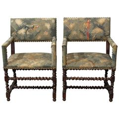 Pair of Carved Wood and Tapestry Armchairs