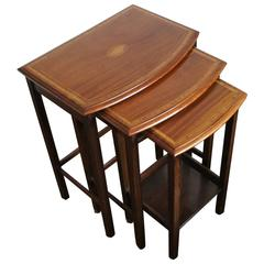 Antique Mahogany Nest Of Tables With Satinwood Inlaid Shell And Outer Rim