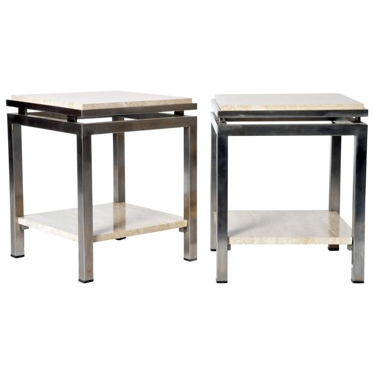 Pair of Two-Tier Travertine Side Tables in the Style of Guy Lefevre