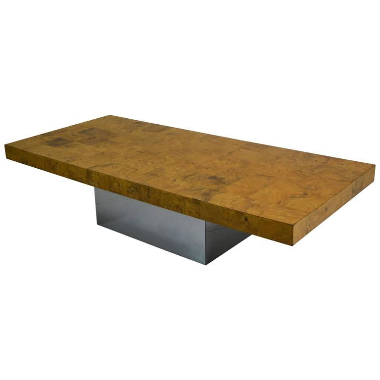 Burl Wood And Chrome Coffee Table By Milo Baughman At 1stdibs