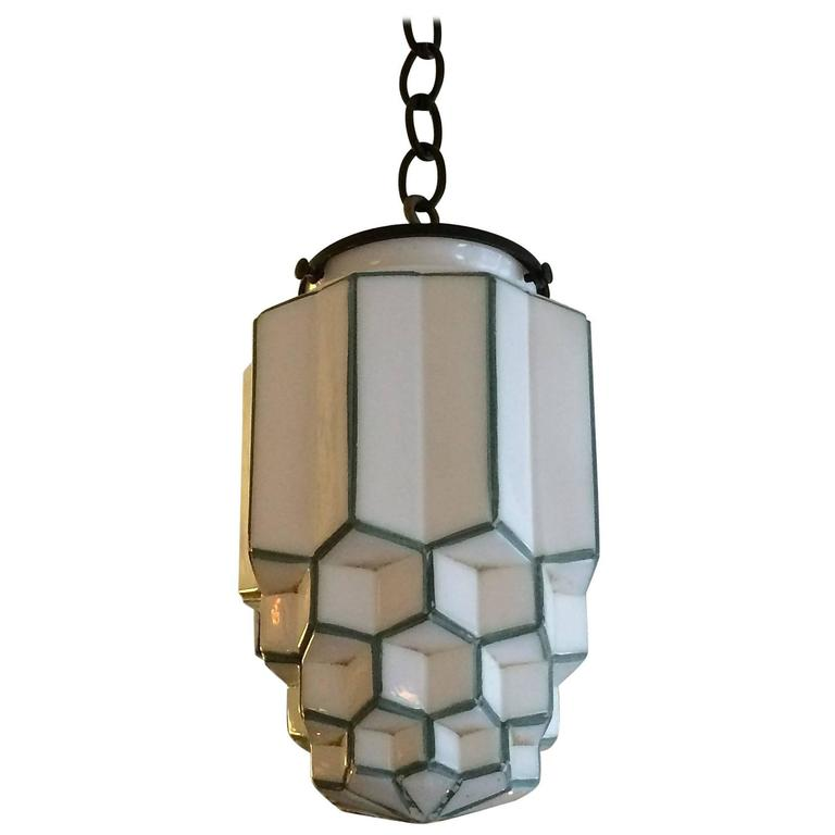 Art deco tiered milk glass skyscraper pendant light for sale