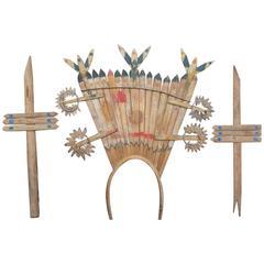 Apache Gahn Mountain Spirit Crown and Dance Wands, circa 1930s