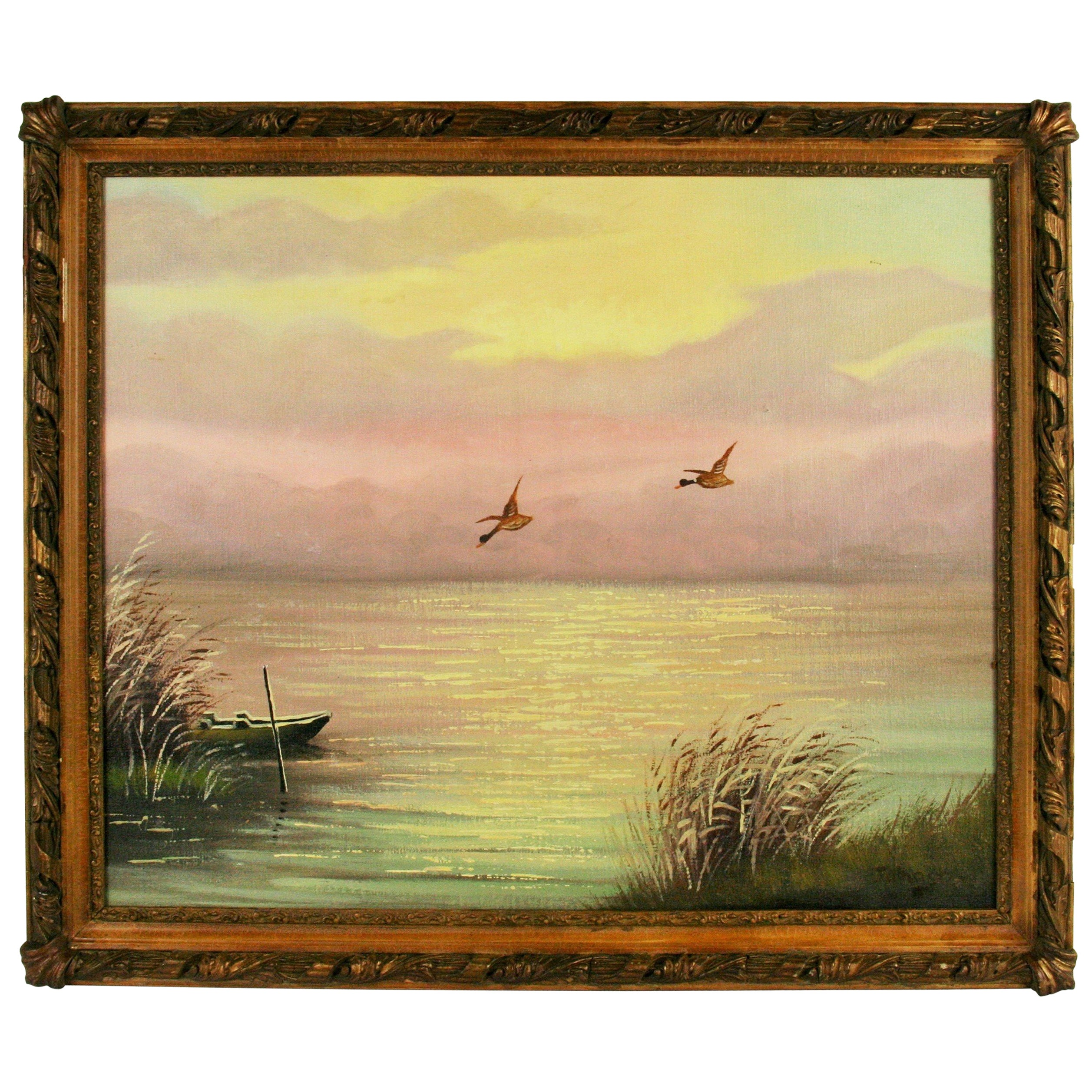 Thomas L Lewis Texas Landscape Lake Painting in Gold Sepia For Sale ...