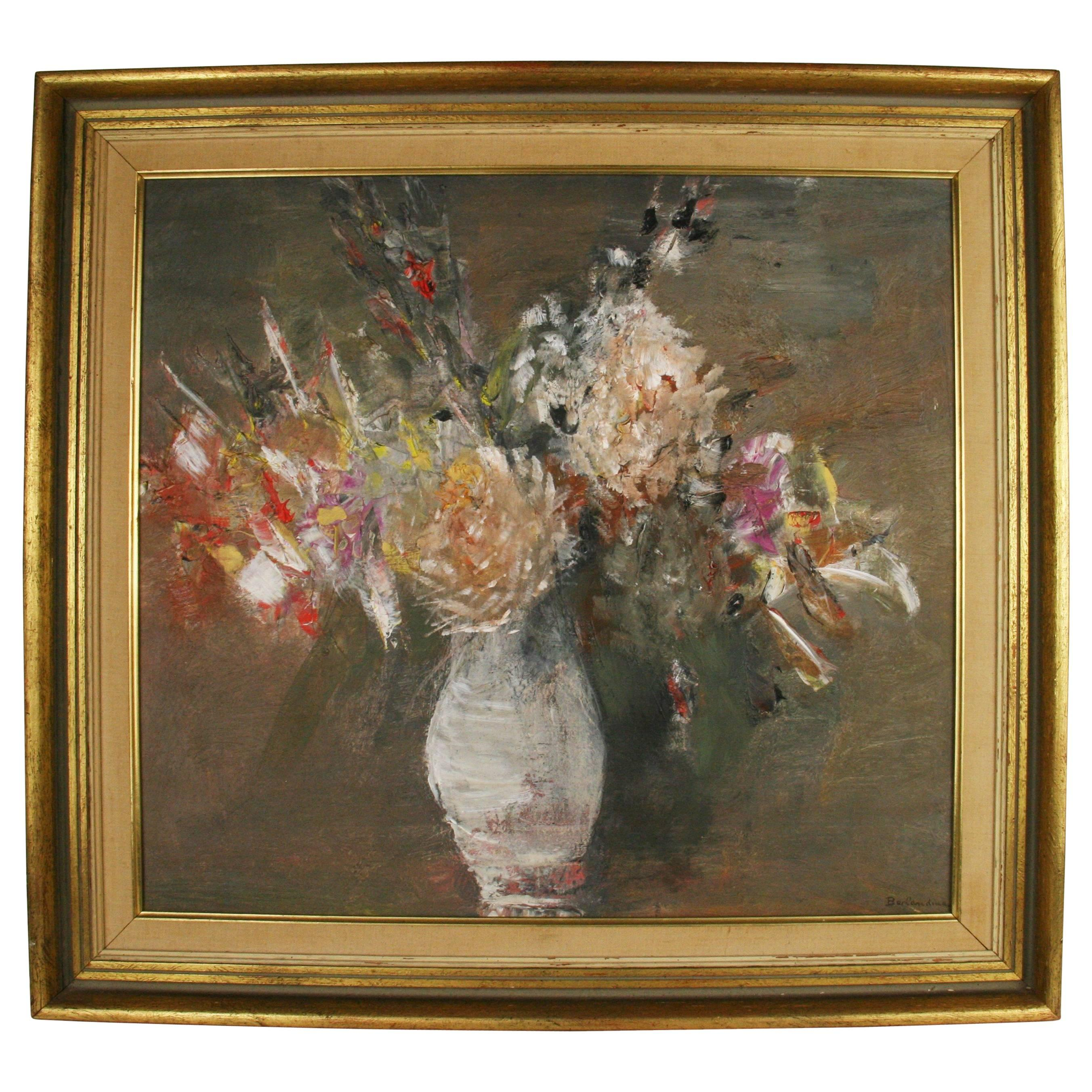 White Still Life Abstract Floral  Painting