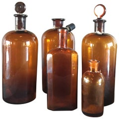 Set of Five Vintage Apothecary Bottles, France, circa 19th Century
