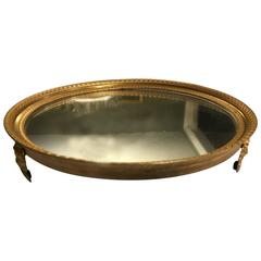 French Gilt Bronze Round Mirrored Plateau Stand