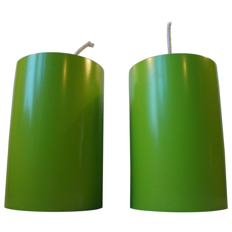 Pair of Cylindrical Avocado Green Pendant Lamps by Louis Poulsen, Denmark, 1970s