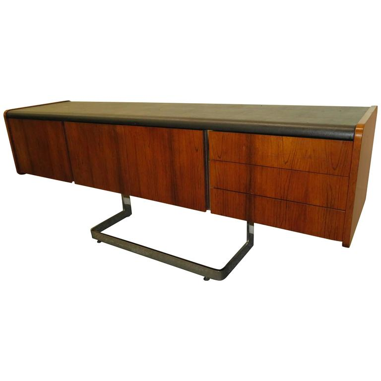 Fabulous Rosewood and Chrome Credenza by Ste. Marie & Laurent For Sale
