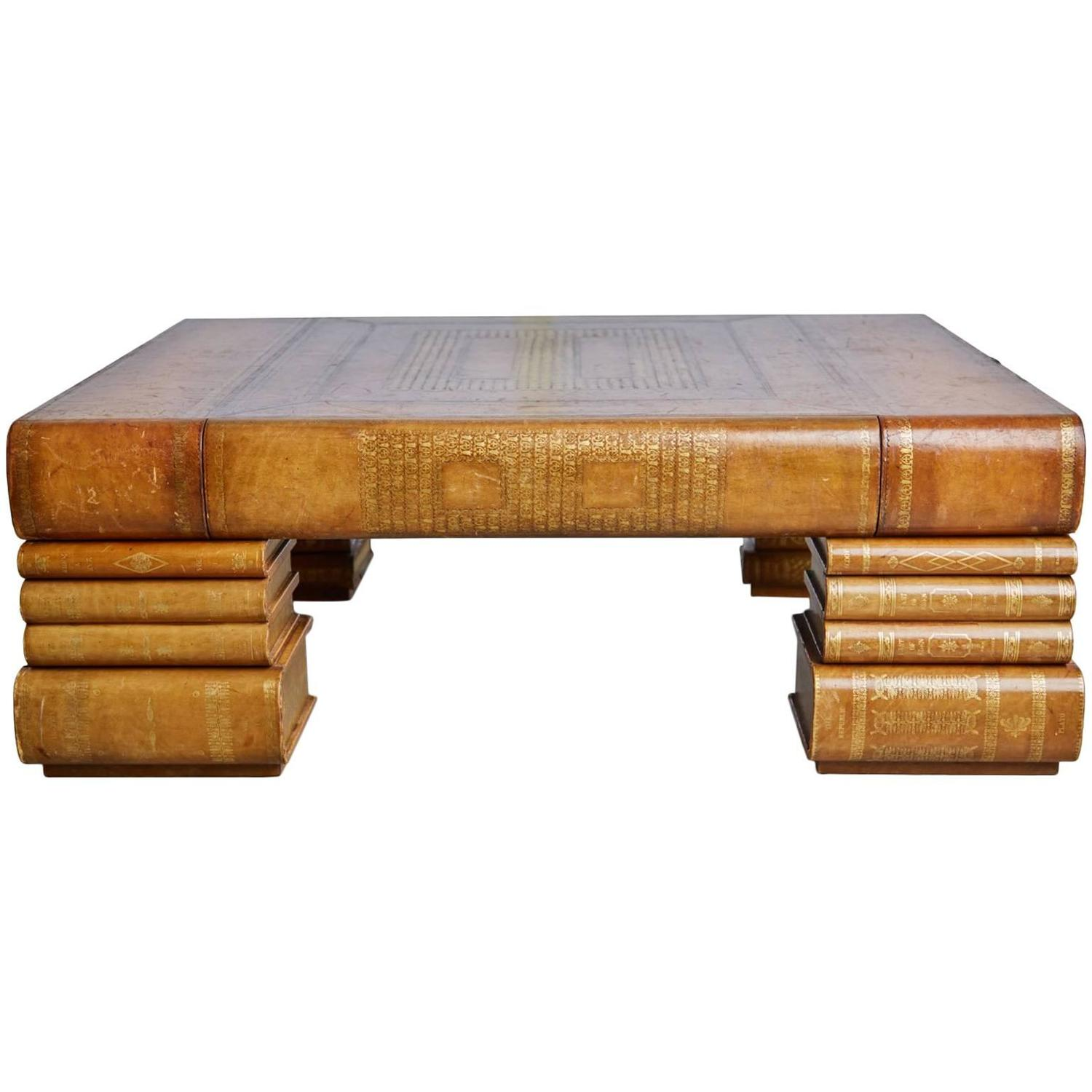 Maitland Smith Oversized Embossed Leather Books Coffee Table at