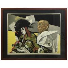 """Junichiro Sekino Large Japanese Limited Woodblock Print """"Eiza and Matsuomaru,"""""""
