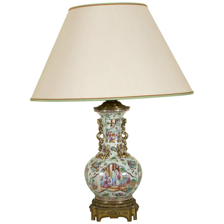 19th Century Cantonese Polychromed Porcelain Lamp Monted on Gilt Bronze Base