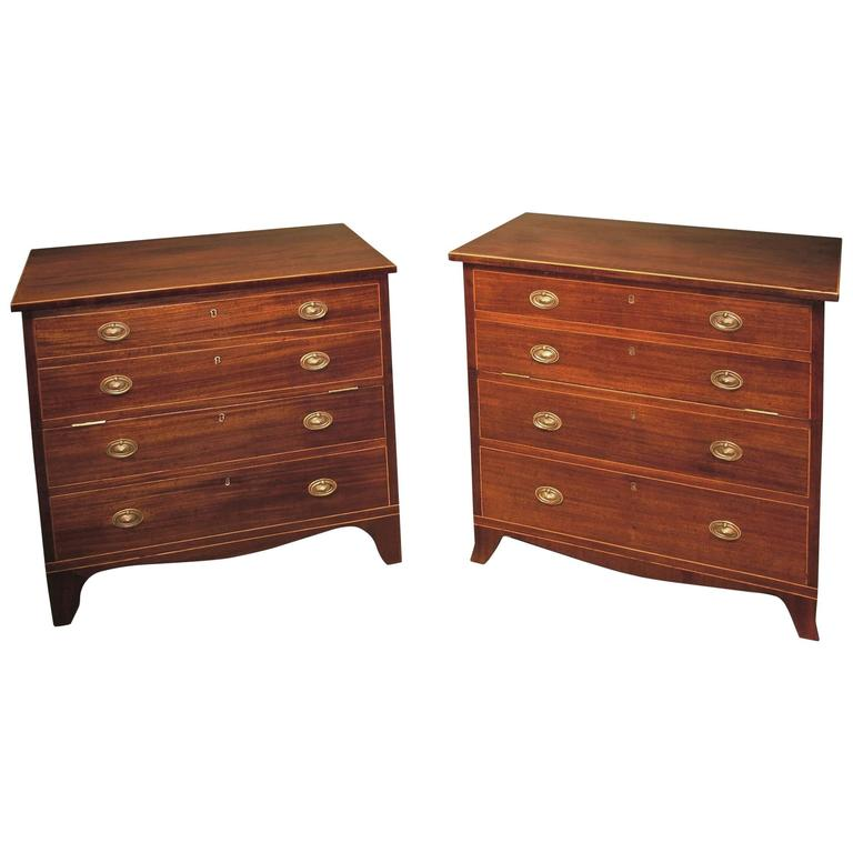 Near Pair of George III Mahogany Commode Chests
