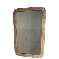 Italian Mid-Century Mirror Brass and Perforated Metal