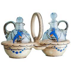 Vintage French Glass Bottles in Ceramic Holder