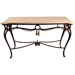 Iron and Tessellated Stone Console Attributed to Maitland-Smith