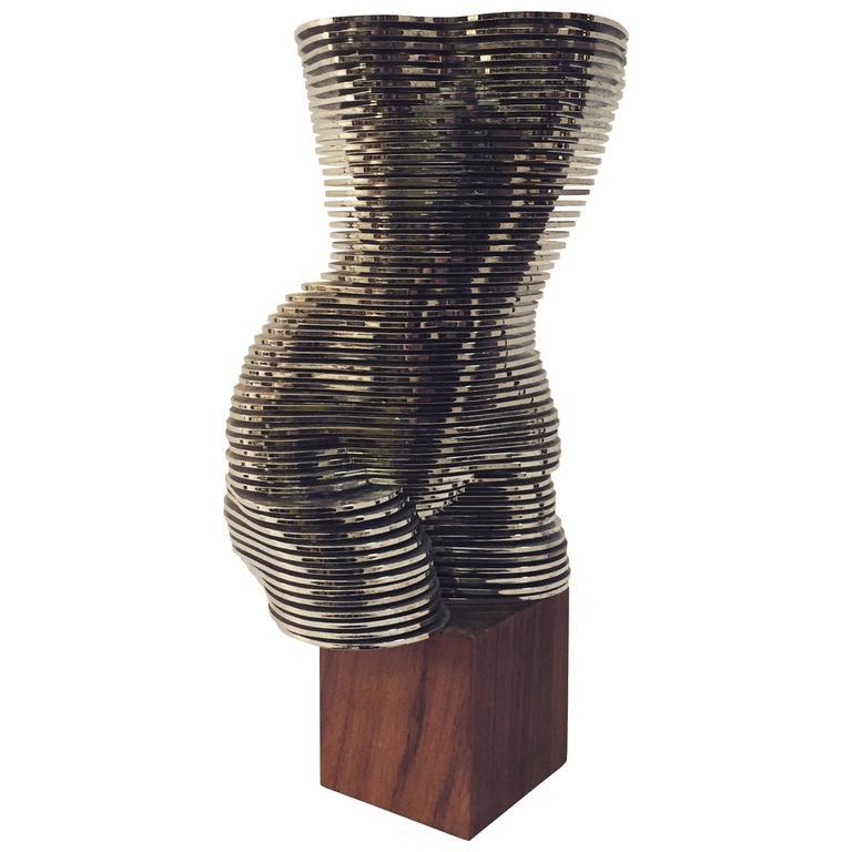 Op Art Female Nude Sculpture