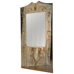 Cristal Art Consolle Mirror Italian Midcentury Design
